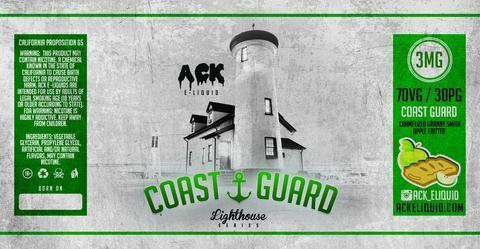 Coast Guard (Carmalized Granny Smith, Fritter) Lighthouse Series 30ML By Ack E-Liquid