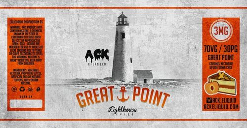 Great Point (Caramel, Nectarine, Cake) Lighthouse Series 30ML By Ack E-Liquid